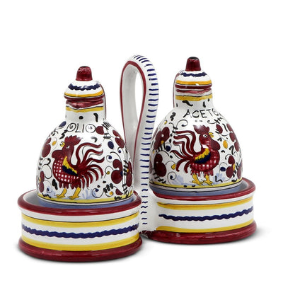 ORVIETO RED ROOSTER: Oil and Vinegar cruets set with caddy