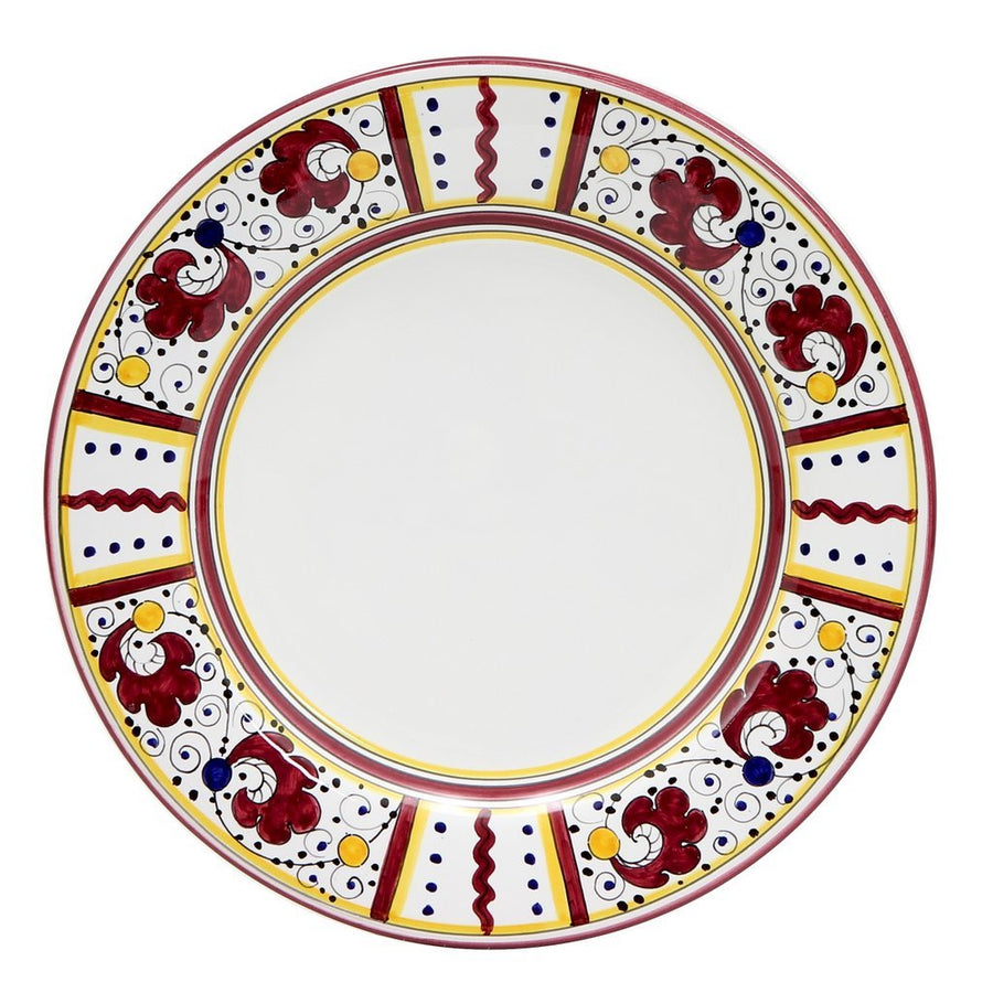 ORVIETO RED ROOSTER: Dinner Plate (White Center)
