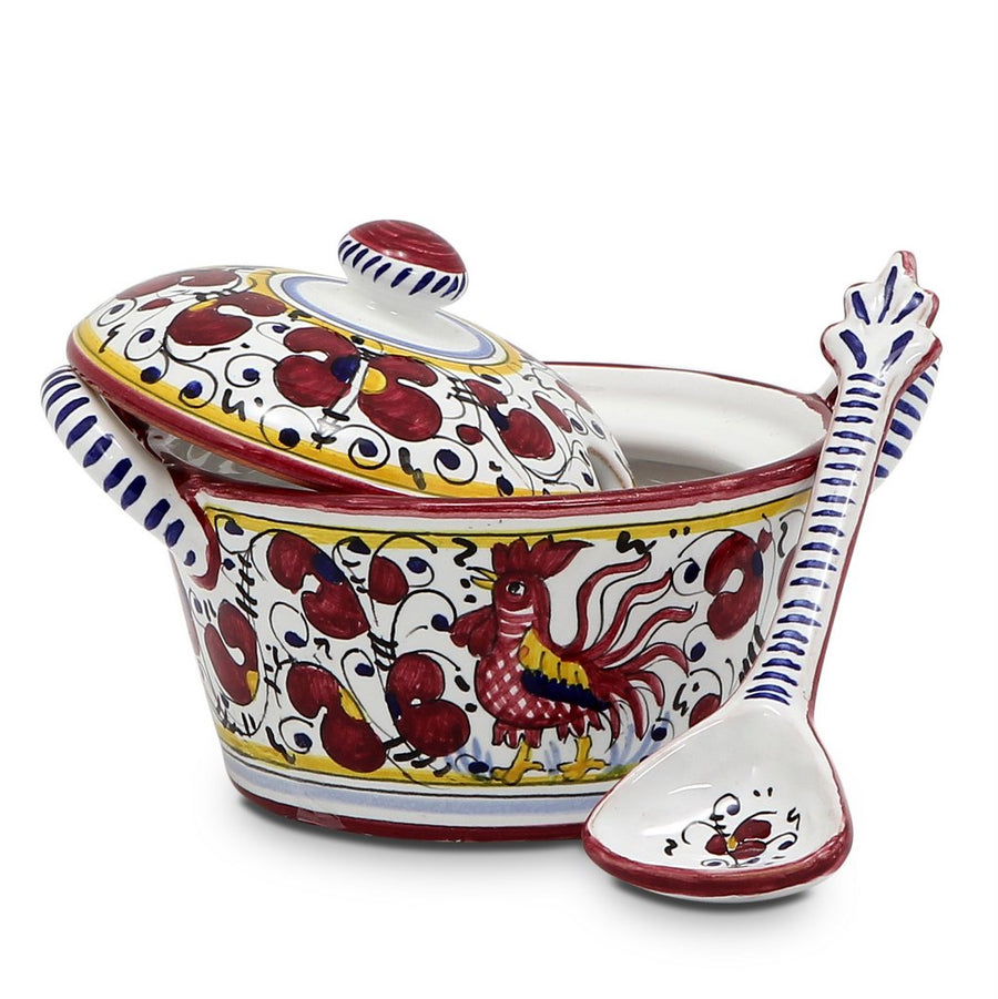 ORVIETO RED ROOSTER: Bundle with Butter Dish + Sauce Boat + Parmesan Bowl + Spoon Rest