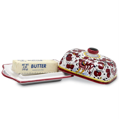 ORVIETO RED ROOSTER: Butter Dish with Cover [R]