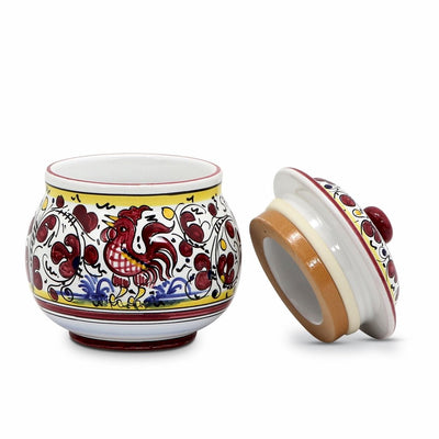 ORVIETO RED ROOSTER: Round Canister with rubber sealing lid [R]