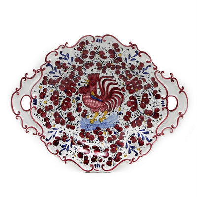 ORVIETO RED ROOSTER: Oval Tray with Handles [R]