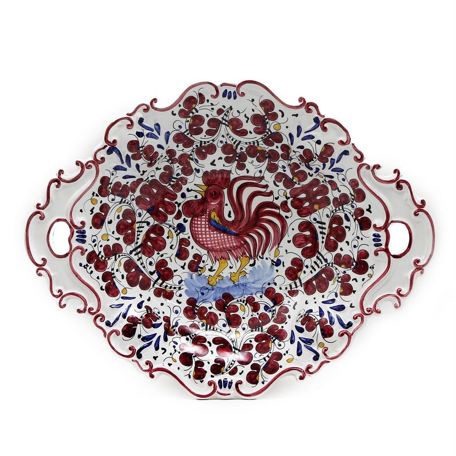 ORVIETO RED ROOSTER: Oval Tray with Handles