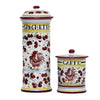 ORVIETO RED ROOSTER: Spaghetti Container + Caffe/Coffee Canister Bundle/Set
