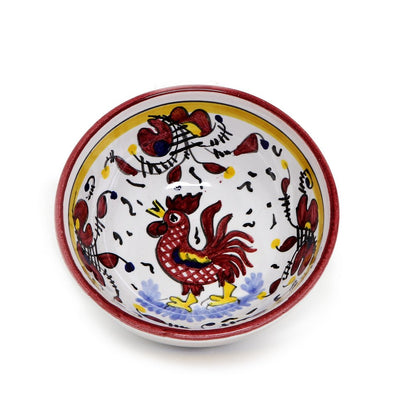ORVIETO RED ROOSTER: Small Dipping Bowl/Condiment Bowl (1 Cup)