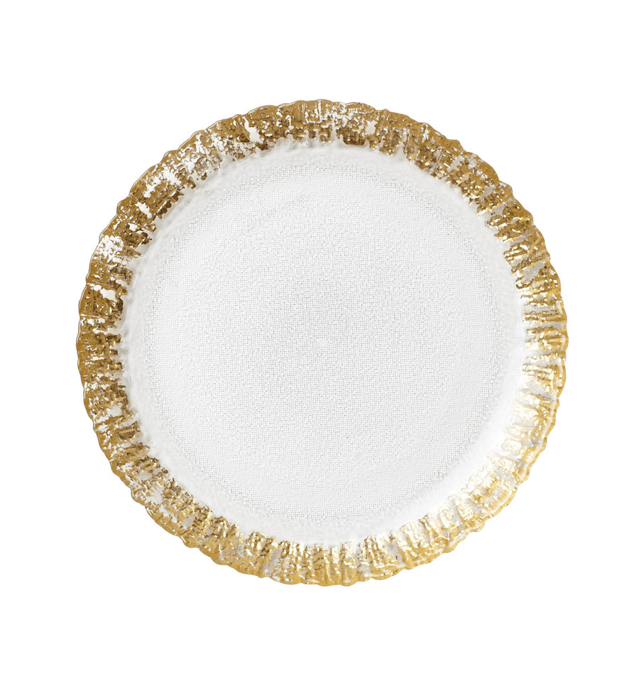 VIETRI: Ruffle Glass Gold Salad Plate