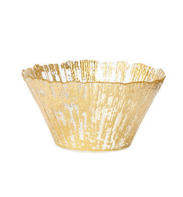 VIETRI: Ruffle Glass Gold Small Deep Bowl