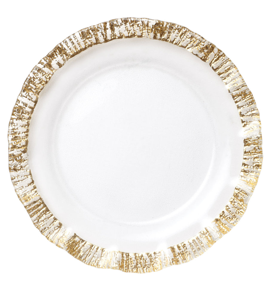 VIETRI: Ruffle Glass Gold Service Plate Charger