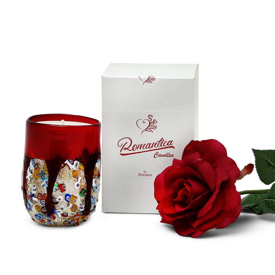 ROMANTICA: Authentic Murano Glass Tumbler in RED Murrina Style (15 Oz.)