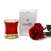 ROMANTICA: Deluxe Precious Cup Candle ~ Coloris Rosso Design ~ Pure Gold Rim