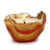 ITALIAN GLASS: Fused Glass Candle Orange Multi
