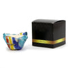 ITALIAN GLASS: Fused Glass Candle Blue Yellow Stripes