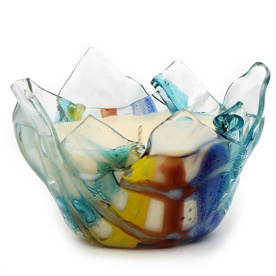 ITALIAN GLASS: Fused Glass Candle Blue-Yellow-Orange Large
