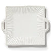 VIETRI: Incanto Stone White Stripe Square Handled Platter Tray