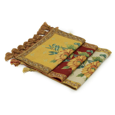 WOVEN TAPESTRY: Placemat with sunflower and decorative tassels - Tan/Gold