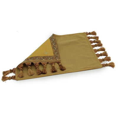 WOVEN TAPESTRY: Placemat with sunflower and decorative tassels - Rust/Gold