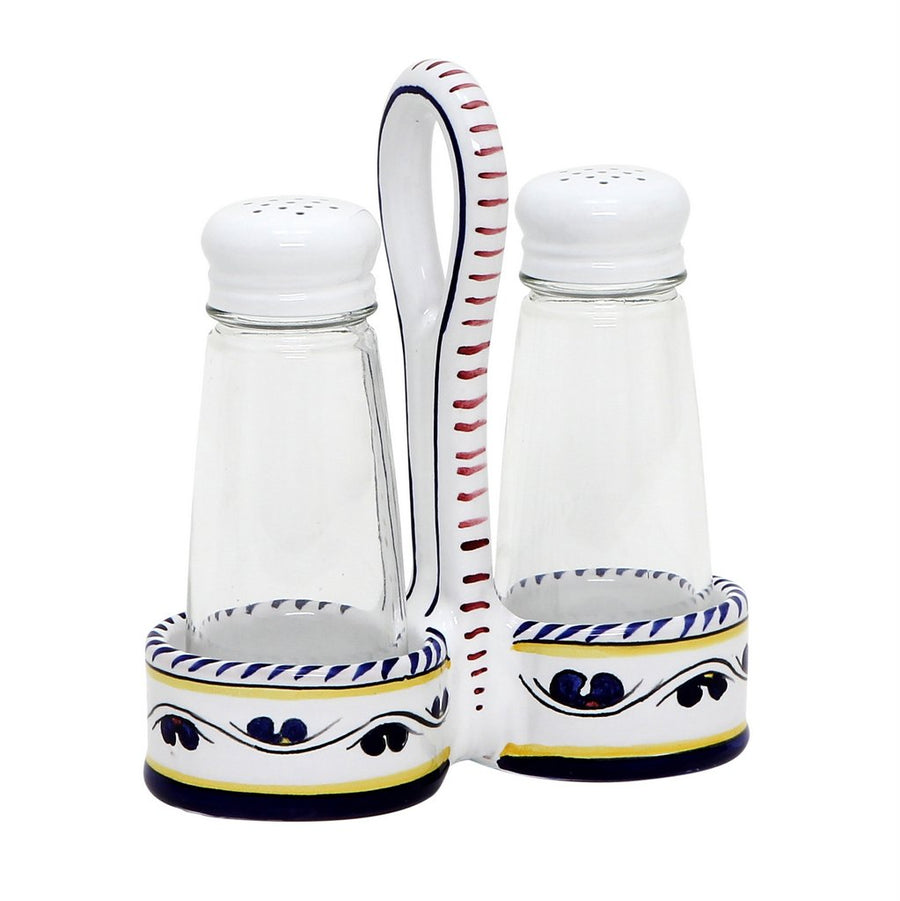 ORVIETO BLUE ROOSTER: Salt and Pepper Cruet (Glass Shakers) [R]