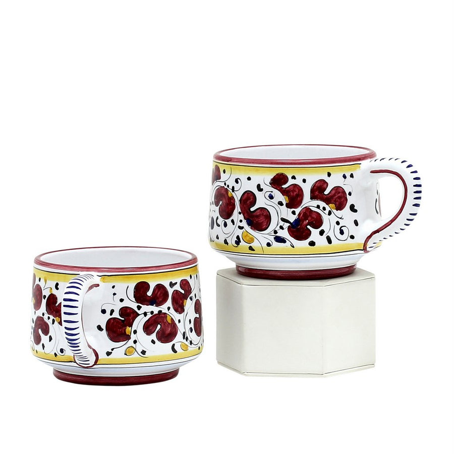 ORVIETO RED ROOSTER: Caffe-Latte Cups (Set of 2) [R]