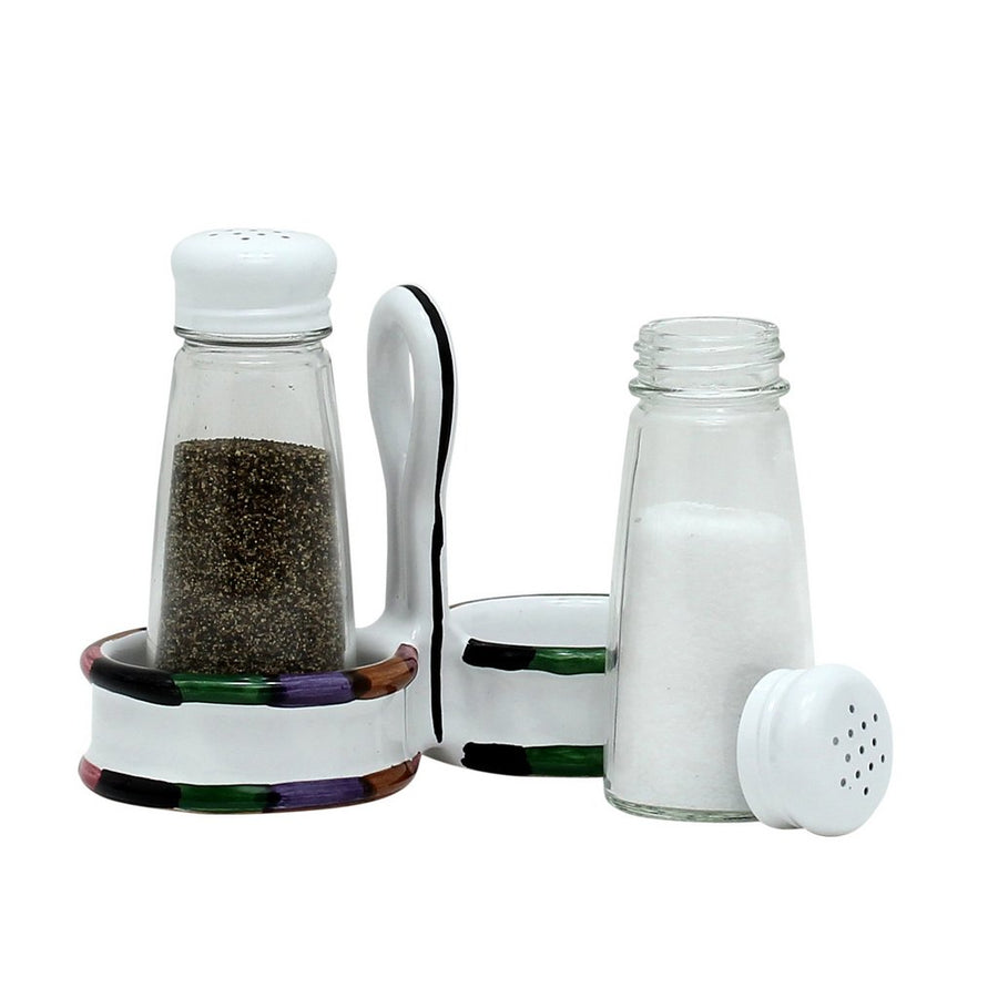 CIRCO: Salt and Pepper Glass Shakers set with caddy [R]