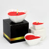 PURITY SPA CANDLE: Valentines Heart Shaped Set of three candles pure White