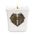 MONDIAL CANDLES: BIANCA Collection - Ceramic Square Container Candle with  ANTIQUE BRASS Flowers Floral Heart Ornament