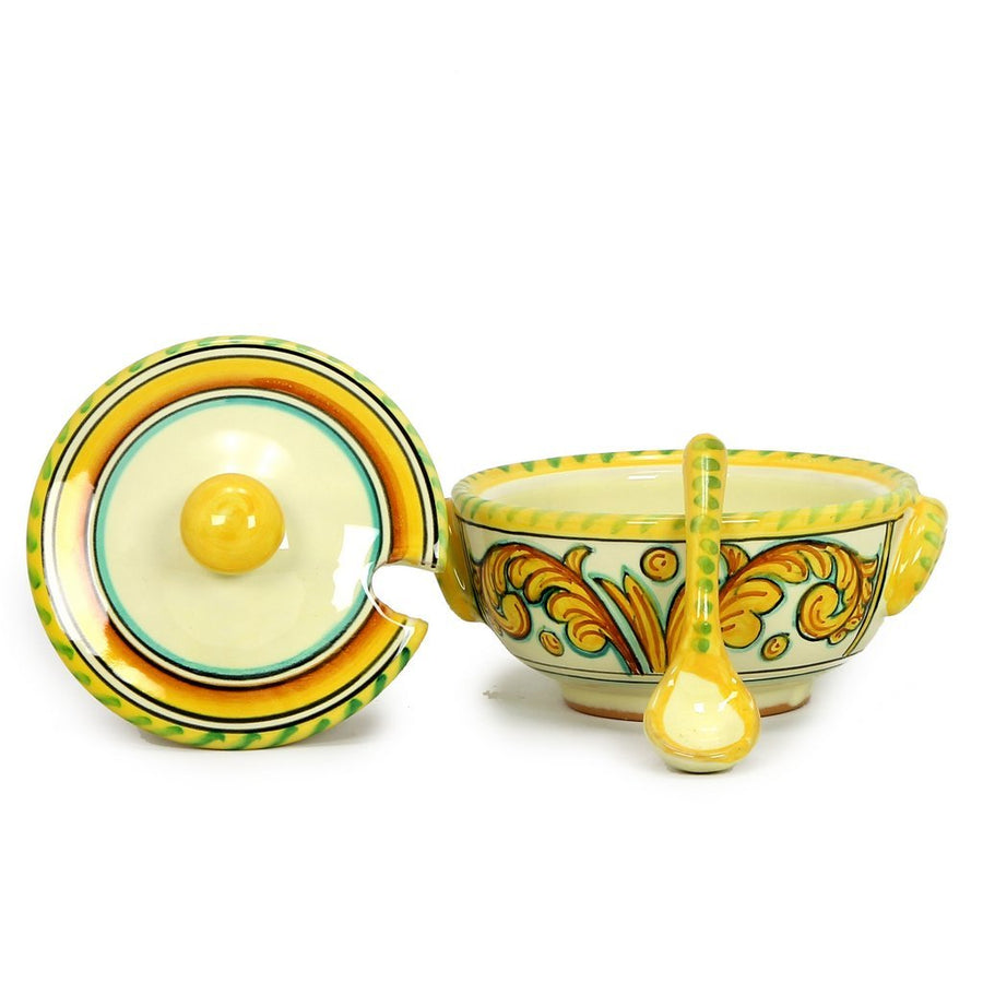 TIBERIO: Covered Sugar Bowl with Spoon [R]