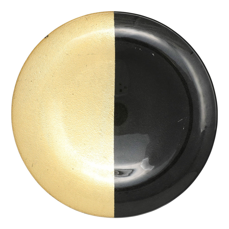 VIETRI: Two-Tone Glass Black & Gold Platter