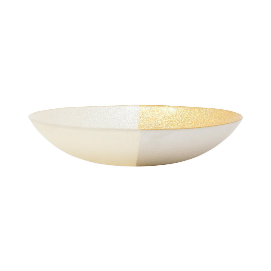 VIETRI: Two-Tone Glass White & Gold Small Bowl