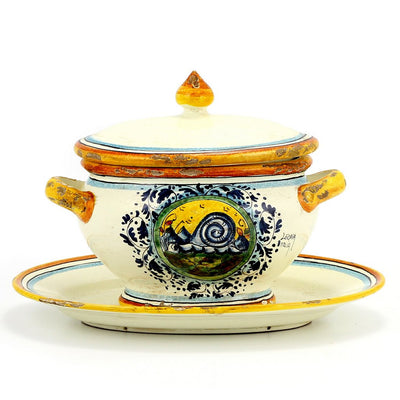 MAJOLICA: Old World Tureen w platter in Fauna Design