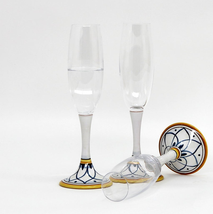 DERUTA STEMWARE: Champagne Flute on Hand Painted Ceramic Base TROPEA Design