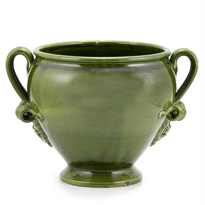 SCAVO CLASSICO: Footed cachepot with two handles VERDE GREEN