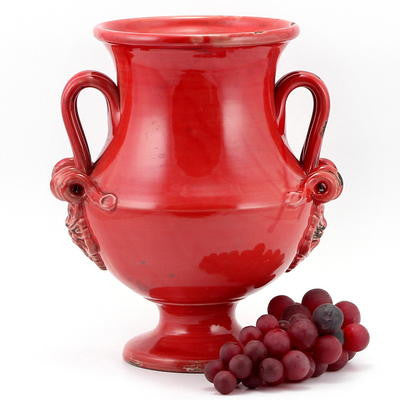 SCAVO CLASSICO: Footed Canister w 2 handles RED