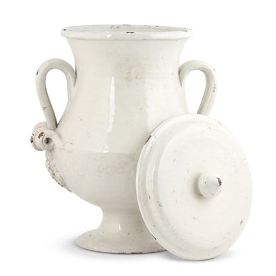 SCAVO CLASSICO: Footed Canister w 2 handles ANTIQUE WHITE
