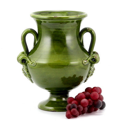 SCAVO CLASSICO: Footed canister with two handles VERDE GREEN