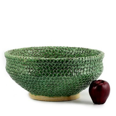 DOLFI BUTTON GREEN: Round Bowl Centerpiece with hand applied button motif GREEN