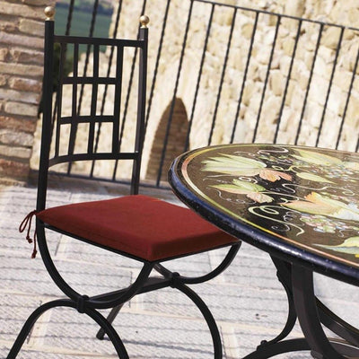 STONE ITALIAN TABLE + IRON BASE: ZURIGO Design - Hand Painted *