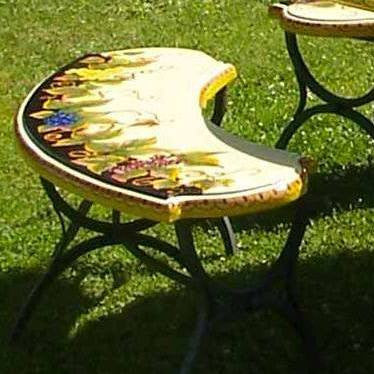 WROUGHT IRON BENCH WITH CERAMIC TOP: Large Curved model design (Seats Two)