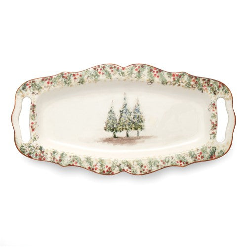 ARTE ITALICA: Natale Long Rectangular Tray with Handles