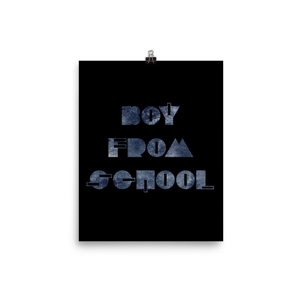 Boy From School Indigo Grunge Poster, Black