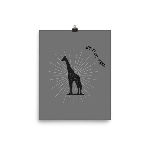 Boy From School Giraffe Poster