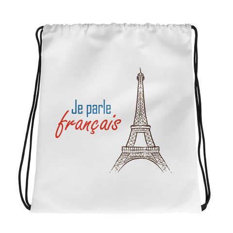 I speak French Drawstring bag