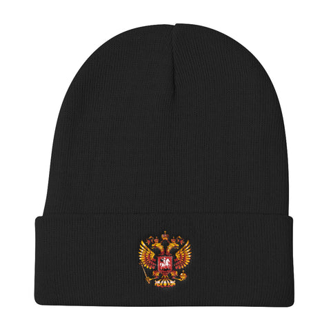 Russian Crest Embroidered Knit Beanie