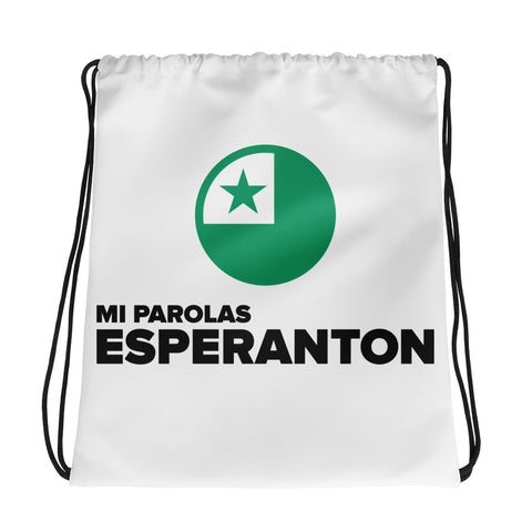 I speak Esperanto Drawstring bag