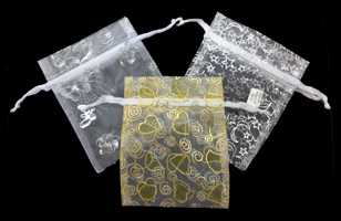 Organza Pouches w/Pull String-Hearts