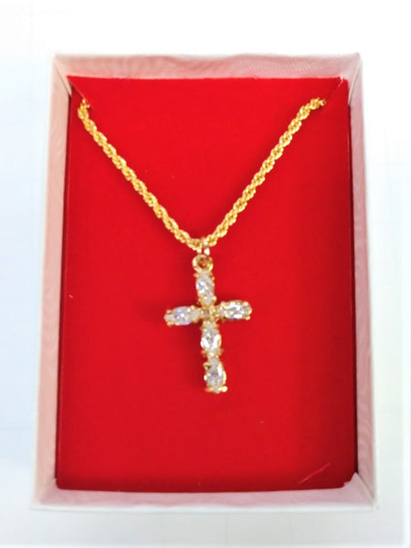 Clear Crystal Gold Plated Cross w/Chain