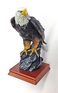 Perched Eagle - Wood Base