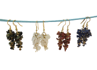 Dangle Grape Style Chips Earrings-Mixed Stones