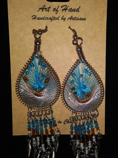 Tear Drop Woven Dangle Earrings - Turquoise, Copper and White