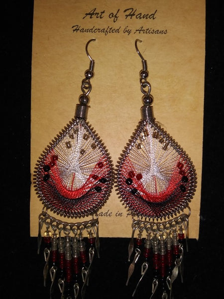 Tear Drop Woven Dangle Earrings - Red, Black and White
