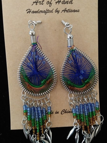 Tear Drop Woven Dangle Earrings - Dark Blue, Green and Copper